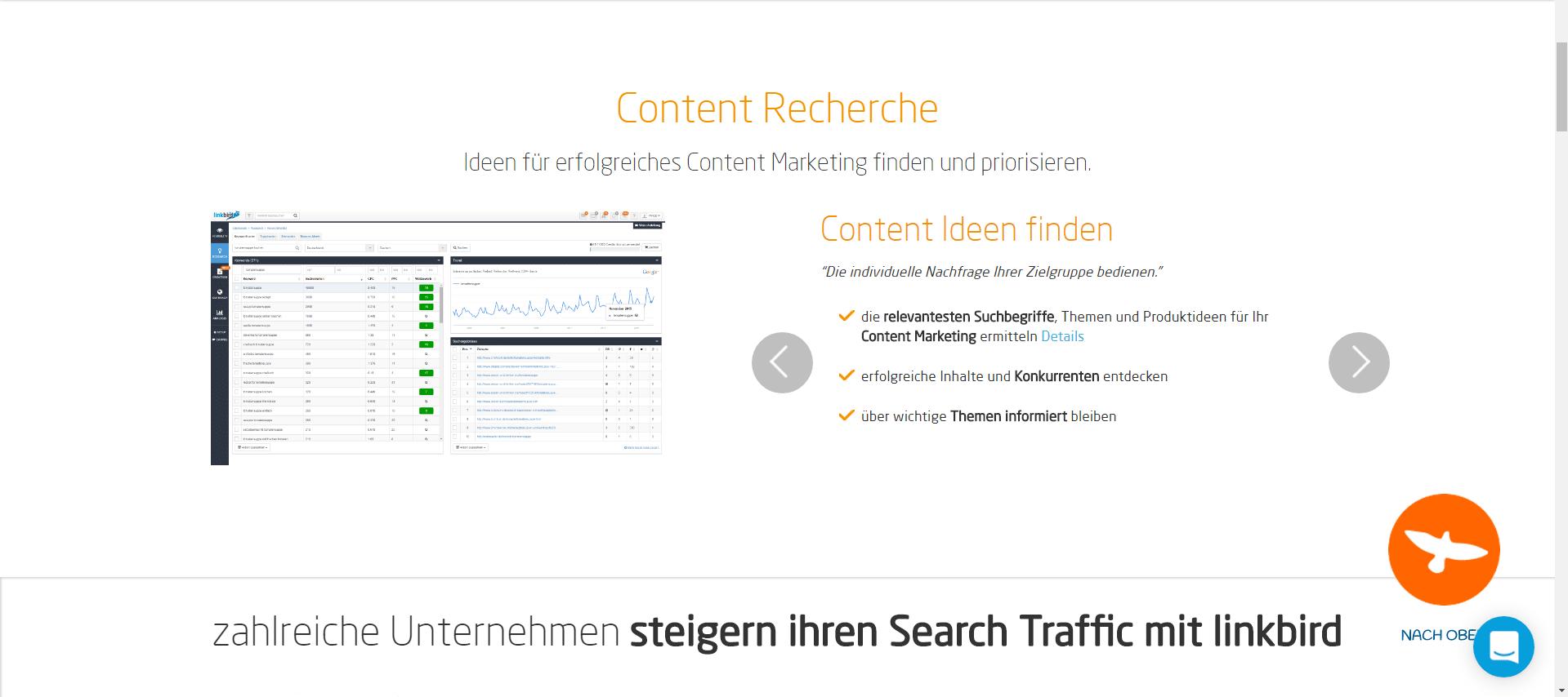 Linkbird - Content Recherche